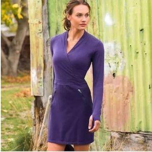 Athleta Suedy Long Sleeves Body Wrap Lady Dress